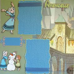 DISNEY FROZEN Pre-made Scrapbook pages 2 12x12 PAGES YOUNG ANNA ELSA