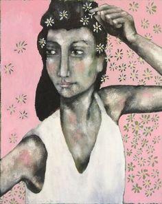 A good start for the week of spring fever! Painting 'white flowers in hair'.    -Een goede start van de week van de lentekriebels! Schilderij 'witte bloemetjes in het haar'. |post by Anneke| #art #dutchart #painting #kunst #schilderij #fineart #portrait #spring