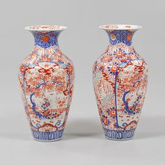 A Large Pair of 19th Century Imari Vases - Timothy Langston