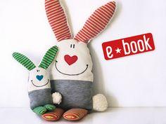 Nähanleitung mit Schnittmuster für ein Kuschelhasen / sewing instruction for the bunny cuddle buddy by Doodah via DaWanda.com
