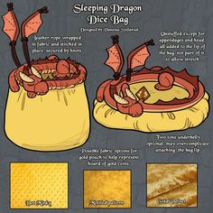 My D&D dice bag design, a sleeping dragon on its hoard of golden treasure, is up. My D&D dice bag design, a sleeping dragon on its hoard of golden treasure, is up for voting on fanforge! Please help Fabric Crafts, Sewing Crafts, Dragon Dies, Craft Projects, Sewing Projects, Dice Bag, Cute Crafts, Geek Crafts, Creative Crafts