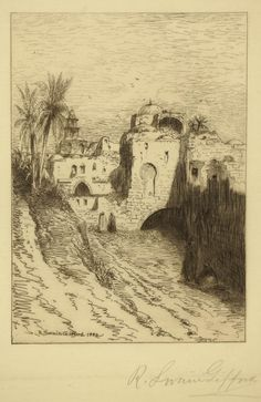 R. Swain gifford / Palestine / Etching, 1880 / Etching revival / Townscape / Intaglio / Printmaking / Drawing / Art / Decor