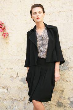 """Vest """"Enya"""" wool crepe  Skirt """"Romy"""" by Phalaenopsis.fr"""
