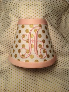 Spot On Gold Metallic Polka Dots Monogrammed Night Light  (other colors available for monogram and trim) by LightningBugs on Etsy