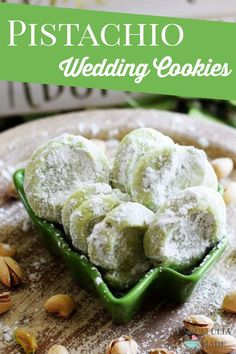 Pistachio Wedding Cookies are soft, buttery cookies that are a little sweet, a little salty, and a whole lot of deliciousness. These melt-in-your-mouth good cookies just might have you reaching into that cookie jar often this Holiday Season. Galletas Cookies, Xmas Cookies, Yummy Cookies, Owl Cookies, Best Christmas Cookies, Sweet Cookies, Sweet Treats, Pistachio Recipes, Pistachio Cookies
