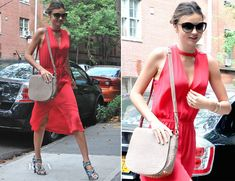 Miranda Kerr brought a pop of colour and her enviable style to the streets of Manhattan.    Dressed in a coral A.L.C. 'Kenyatta' dress, the supermodel proves that she is an unstoppable force when comes to her covetable closet.  The sweet coral colour is perfect for summer and the keyhole detailing adds a playful, sassy touch to her daytime look.  She styled her look with her favourite Balenciaga print sandals, and an Alexander Wang 'Lia Sling' bag.