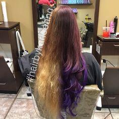 Before and after using #pravana #purple and color fusion #ellemariekarlee #hairbykarleeann #redkenobssesed #hairporn #curls