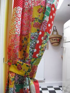 Kitchen curtain made from 1940s sackcloth, 1950s and 1970s cottons and a vintage embroidered table cloth.