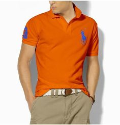Ralph Lauren Men\u0026#39;s Classic Slim-Fit Big Pony Short Sleeve Polo Shirt Orange / Royal
