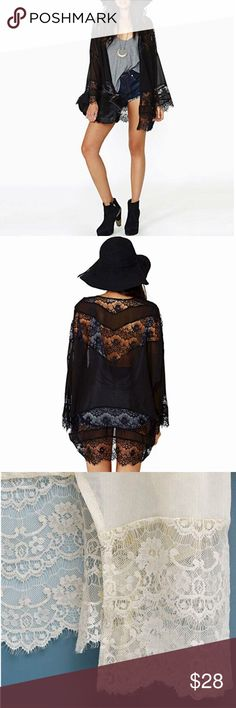Casual Vintage Boho Kimono Lace Cardigan In Black This is a beautiful, brand new, long sleeved black kimono with beautiful lace embellishment. Tops Blouses