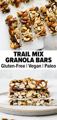 These easy and healthy homemade trail mix granola bars will beat store-bought versions any day. They're chewy, sweet, nutty, and are filled with clean ingredients! #trailmix #trailmixgranolabar #granolabar #healthysnack Healthy Granola Bars, Homemade Granola Bars, Trail Mix Recipes, Snack Recipes, Whole30 Recipes, Healthy Sweets, Healthy Snacks, Protein Snacks, Healthy Breakfasts