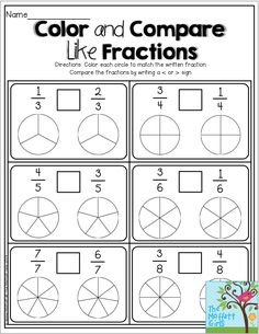 Color and Compare Like Fractions- Color the fractions and decide to use greater than or less than symbols for each set.