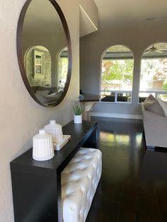 Review photo 3 Big Round Mirror, Round Mirrors, Narrow Entryway, Beautiful Mirrors, Ballard Designs, Oversized Mirror, Family Room, Hardwood, Modern