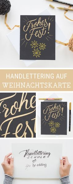 DIY-Inspiration für gestaltete Weihnachtskarten: Wir zeigen Dir zusammen mit edding, wie Du eigene Handletterings auf Karten umsetzt / christmas handlettering on christmas cards: learn how to do beautiful calligraphy via DaWanda.com