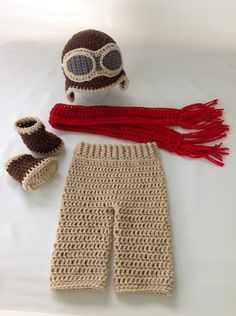 Baby Aviator Outfit - Crochet Aviator Costume - Baby Pilot Costume - Crochet - Photography Prop - Diaper Cover Set w/Boots -  Made To Order by TimelessCrochetCraft on Etsy