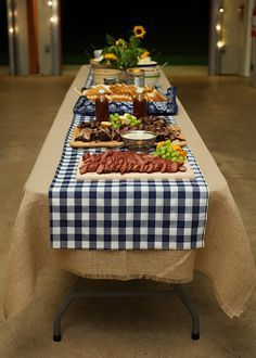 Gingham over Burlap on table. Beer, Boots,