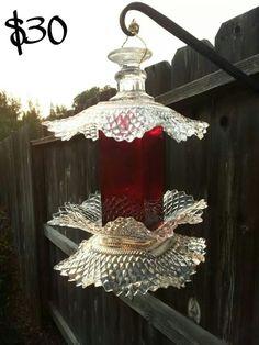 Single Mommy Madness by Stephanie Dean Handmade Upcycle vintage glass bird bath bird feeder garden totem garden art.