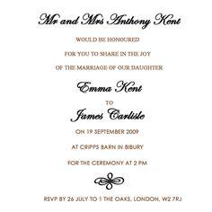 Wedding Invitations Wording  Formal Wedding Invitation Wording