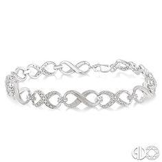 Infinity diamond tennis bracelet set in sterling silver.