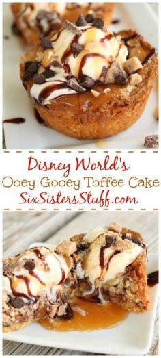 Disney World's Ooey Gooey Toffee Cake on http://SixSistersStuff.com   Dessert Ideas   Best Dessert Recipes