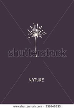 Abstract flower on purple background. Minimalist styled dandelion. Vector illustration.