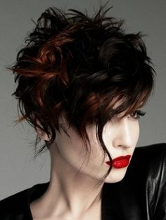 I love this...  Women's Short Textured Hair Cut - Style Messy Texture - Color Dark Cool with sporadic Lighter Warm Block Coloring.