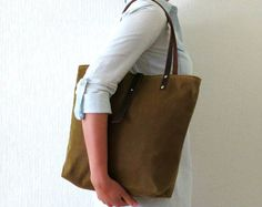 Handmade Canvas Bag Cinnamon Brown Tote Bag Leather by MeryBradley, $109.00