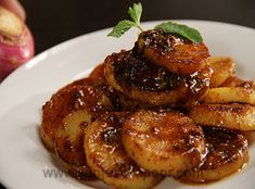 Turnips grilled and cooked in honey mustard sauce.