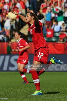 Christine Sinclair of Canada celebrates after scoring a game winning penalty… Canada Soccer, Captain Fantastic, Fifa Women's World Cup, Football Team, Sports Women, Skating, Olympics, Game, Celebrities