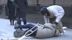 Please Share...Makes you think. I watched it with my 5 year old son and he said he would help anyone up who fell down.  This Homeless Man On Crutches Fell Down. What Happened Next Is Profoundly Alarming. - http://www.lifebuzz.com/helping-hand/