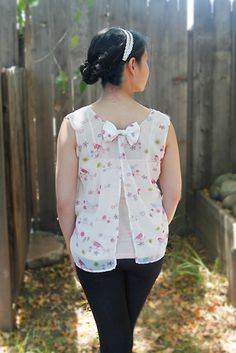 DIY split-back bow shirt (tutorial) | Yarns and Buttons