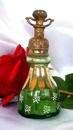 Antique Perfume Green Gold Gilt Enamel Shaker Sprinkler Top Perfume Barber 1900