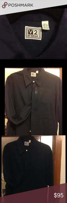 V2 hidden button down shirt Versace V2 hidden button down casual shirt dark blue. Made in Italy says it all! This is a great shirt for the beach or hot summer nights out. You can feel any little breeze go thru this light cotton shirt. Versace Shirts Casual Button Down Shirts