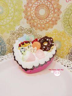 Sweet creamy pink heart shape decoden case by pinkpandacraftshop, $25.00  #handmade #sweetdeco #kawaii #cute #clay #donut #love #pink #decoden #heart #container #strawberry #pastel #dessert #fakesweet #faux #miniature