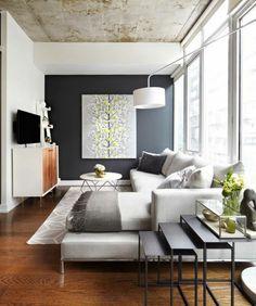 ideen wohnzimmer streichen grau weißes sofa holz bücherregal ... - Ideen Einrichtung Kleines Wohnzimmer