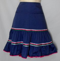 American Eagle Outfitters size 6 Cotton Blue Skirt Ribbons Green Pink #AmericanEagleOutfitters #ALine