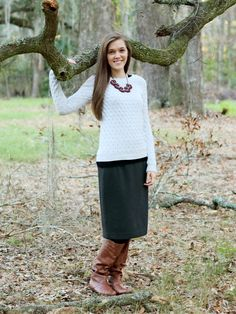Modest Outfit Idea//Beige Cable Knit Sweater//Gray Pencil Skirt//Brown Slouch Boots
