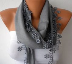 Silver Scarf   Pashmina Scarf   Headband Necklace Cowl by fatwoman, $13.50