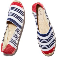 Soludos Striped Original Flat Espadrille Goop ❤ liked on Polyvore featuring shoes, soludos espadrilles, stripe shoes, beach shoes, striped espadrilles and striped shoes
