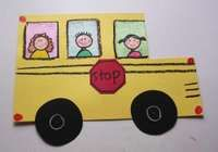 """For an art activity, we make construction paper buses. I give the children half a sheet of yellow construction paper (so 8 1/2"""" by 5 1/2""""). I show them how to cut a square out form the corner. I give them 3 pre-cut white rectangles for windows and have them draw 3 friends.I pre-draw the circles on black construction paper with a white crayon) and have them cut them out (again--good cutting practice). Of course, you have to attach them with brads so the wheels actually go 'round and 'round. I…"""