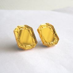 Gold Mirror Emerald Cut Stud Earrings - Geometric Laser Cut Acrylic Silver Perspex via Etsy