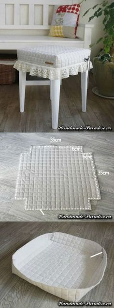 Como coser la funda al taburete por las manos - Handmade-Paradise // Марина Дерябкина Chair Covers, Table Covers, Home Projects, Sewing Projects, Soft Furnishings, Slipcovers, Diy Furniture, Furniture Design, Diy Home Decor
