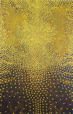 Chris Fennell, Manitou, 2009, Acrylic, metallic glimmer, and paper collage mounted on canvas Art Design, Graphic Design, Art Brut, Aboriginal Art, Mellow Yellow, Yellow Black, Color Yellow, Pattern Art, Textures Patterns