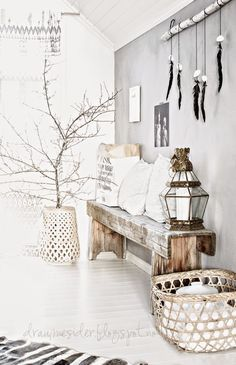 kate young design, DIY, clothes, rail, decorating with branches, boho, style, dressing room, lantern, living room