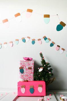 DIY Vintage Christmas Light Paper Garland made with Cricut Explore -- Legal Miss Sunshine. #DesignSpaceStar Round 5