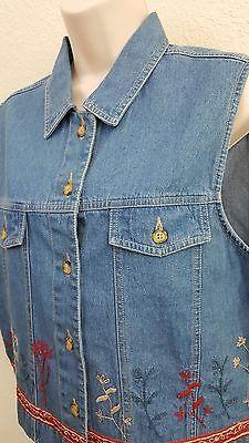 Stonebridge American Classic Denim Embroidered Vest Size Petite Large