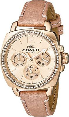 Loving this watch. COACH Womens Boyfriend Small 34mm Leather Strap Watch…