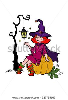 Little witch with a flashlight, cartoon vector illustration