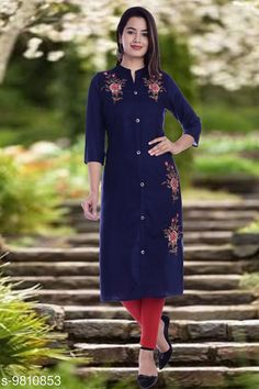 Checkout this latest Kurtis Product Name: *Women's Embroidered Viscose Rayon Kurti* Fabric: Viscose Rayon Sleeve Length: Three-Quarter Sleeves Pattern: Embroidered Combo of: Single Sizes: S, M (Bust Size: 38 in, Size Length: 45 in)  L (Bust Size: 40 in, Size Length: 45 in)  XL (Bust Size: 42 in, Size Length: 45 in)  XXL (Bust Size: 44 in, Size Length: 45 in)  XXXL, 4XL Country of Origin: India Easy Returns Available In Case Of Any Issue   Catalog Rating: ★4.1 (4205)  Catalog Name: Women Viscose Rayon Straight Embroidered Yellow Kurti CatalogID_1743662 C74-SC1001 Code: 673-9810853-339