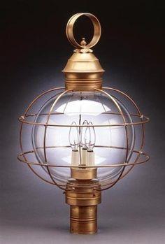 Caged Round Post Dark Antique Brass Medium Base Socket Clear Glass by Northeast Lantern. $619.00